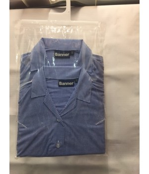 Blue/white checked short sleeve shirt (Summer)